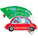 34吋 小車載樹+老公公 氣球<未充氣>