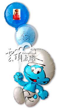 藍色小精靈+相片氣球<可宅配>