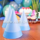 淺藍三角紙帽1大5小/6入[T8]