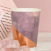 淡紫渲染玫瑰金紙杯/8入[T8]