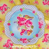 30cm 特殊花邊 淺藍花紙盤/8入