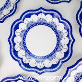 30cm 特殊花邊 深藍青花瓷紙盤/8入