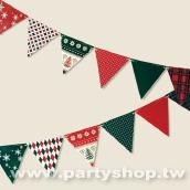 (耶誕風)紙小三角旗[T12]