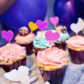 紫愛心蛋糕插牌/7入[T10]